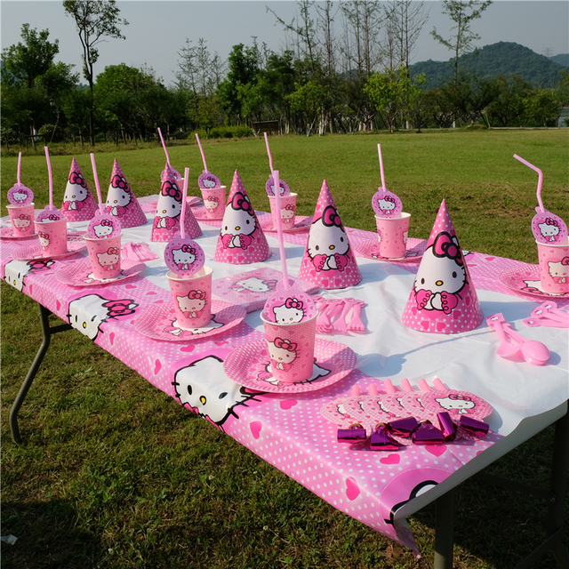 Hello Kitty Cat theme Kids Birthday Party Decoration Set Party