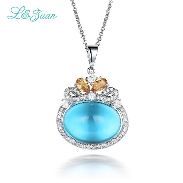 metà fuori 43ec3 ff333 US $898.98 |925 sterling silver topazio naturale blu ciondolo pietra  gioielli con catena d'argento regalo di moda collana zaffiro il best regalo  in ...
