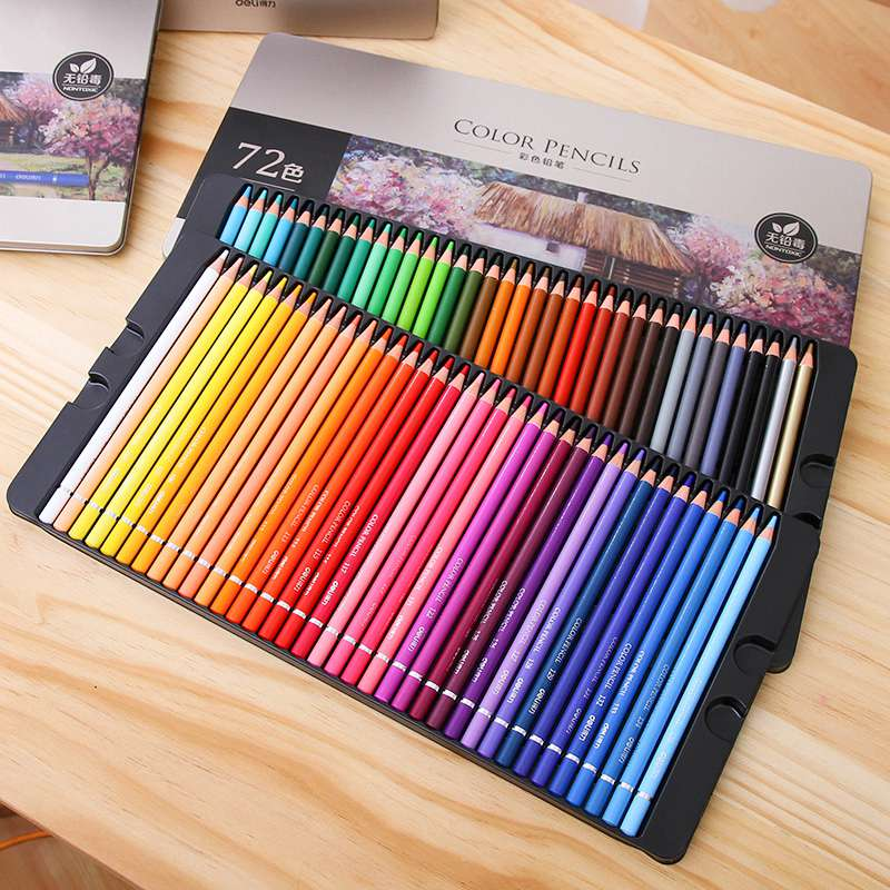 Deli Professional 72 Colored Pencil Set Water Colour Pencil Tin Box Drawing Painting Sketch Lapis De Cor school Artist supplie deli professional 72 colored pencil set water colour pencil tin box drawing painting sketch lapis de cor school artist supplie