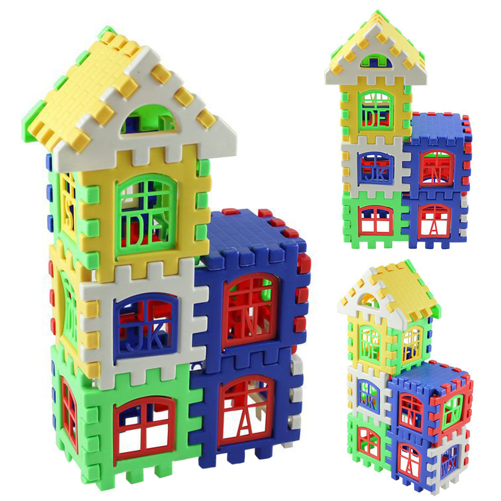 24pcs/lot Designer for Children Plastic House Building Blocks Toys Construction Set Baby Developmental Toy Educational creative chain buckle ring blocks children plastic building blocks geometric buckle construction assembling toy educational toys