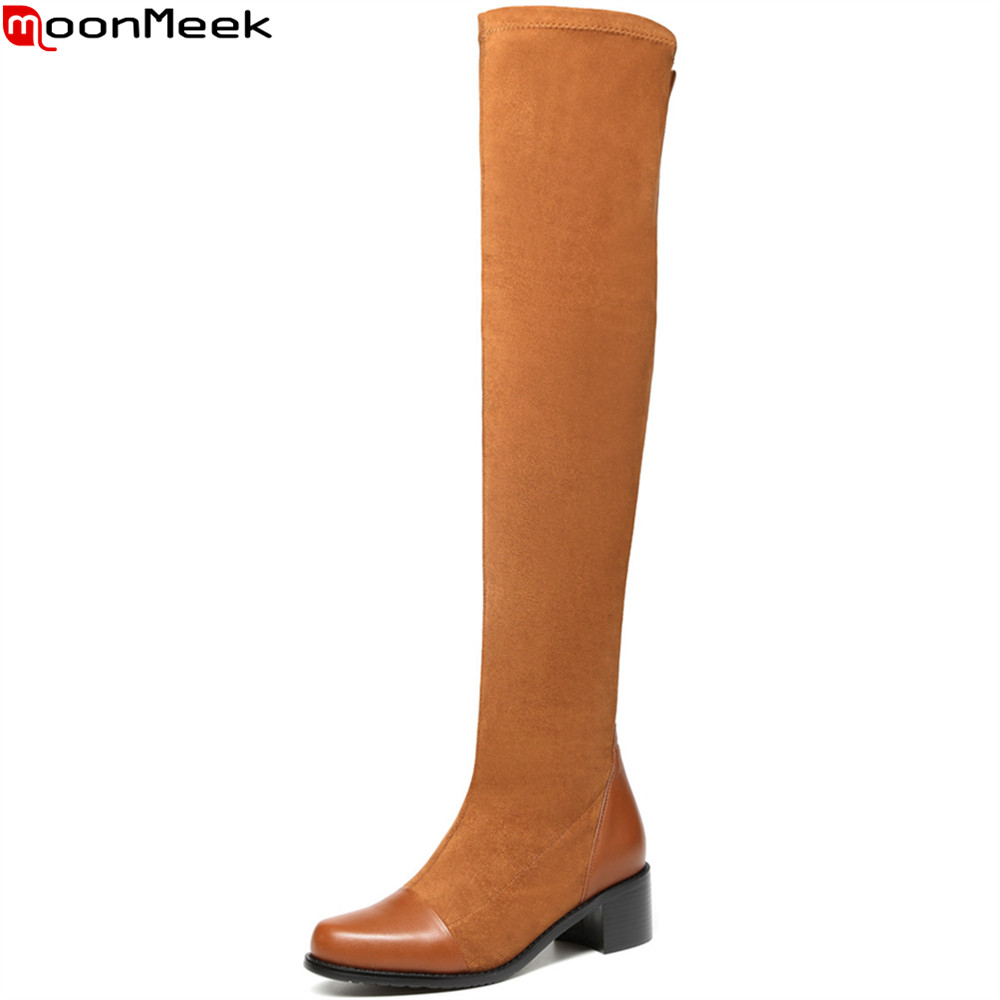 MoonMeek fashion new arrive women boots round toe genuine leather +kid suede ladies boots square heel sexy over the knee boots spring 2016 new arrive women fashion boots solid casual boots round waterproof high heeled women boots stretch stovepipe boots