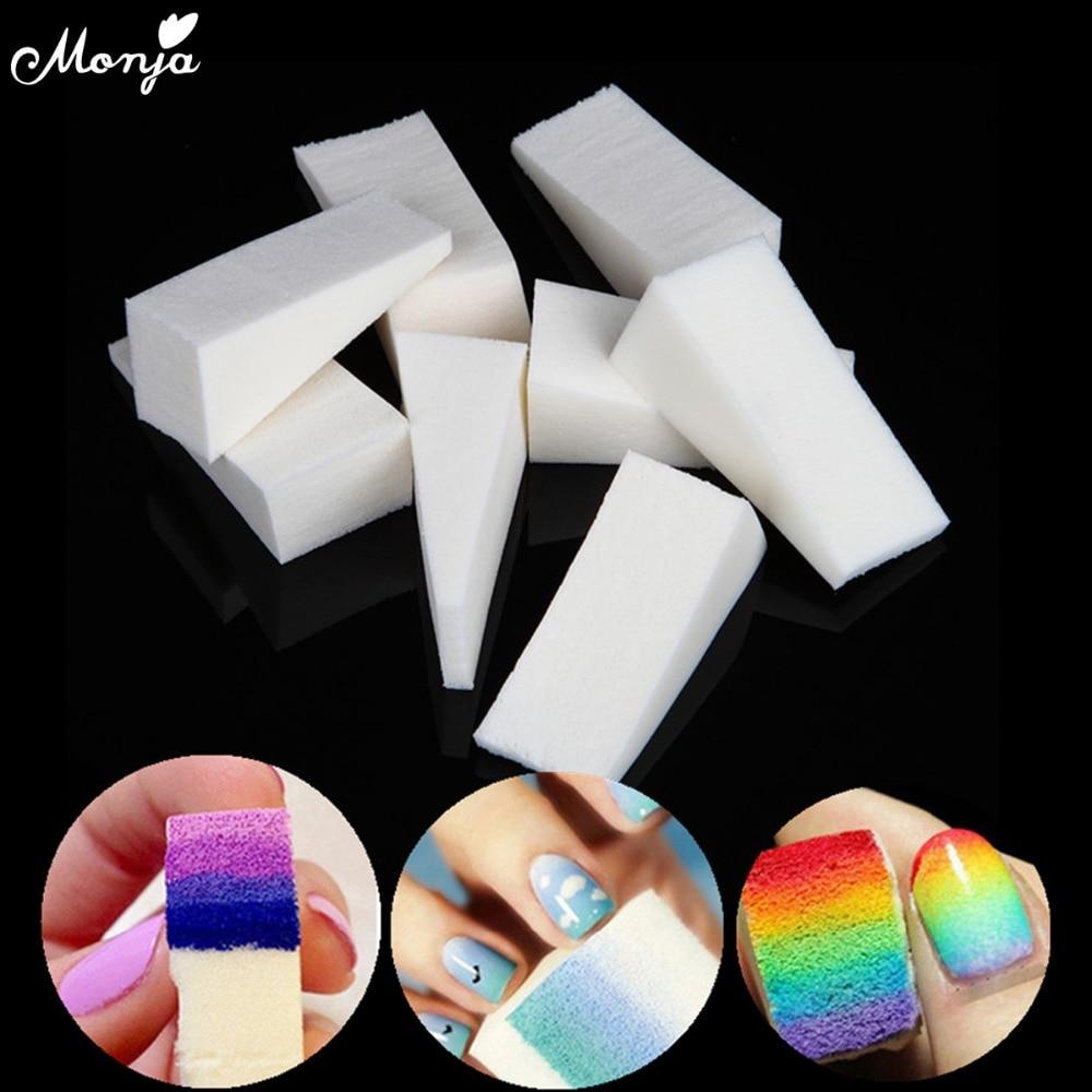 Monja 12/16/24pcs Nail Art Gradient Color Stamping Sponge Gel Polish Varnish 3D Image DIY Transfer Soft Triangle Coloring Tools