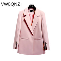 women blazer Medium length tops spring autumn size S 2XL female solid blazer ladies loose jacket fashion casual pocket coat