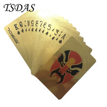One Deck Gold Foil Poker Colored Facial Makeup Style Plastic Playing Card Novelty Gift Free Shipping 1pc(China)