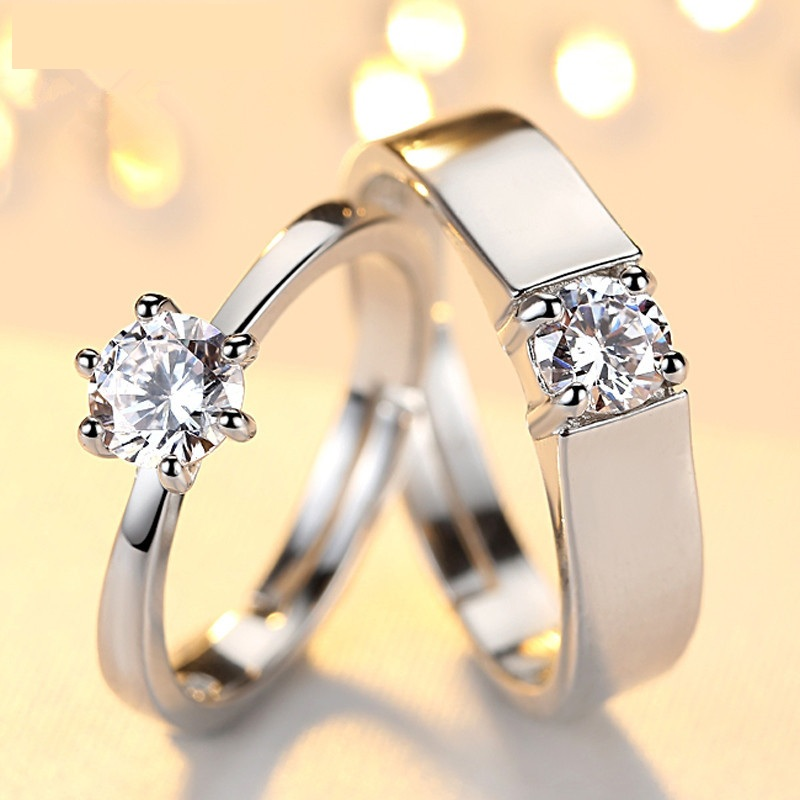 SHUANGR SHUANGR Women Men Famous Brand Crystal Jewelry <font><b>Carter</b></font> <font><b>Love</b></font> <font><b>Rings</b></font> Luxury Titanium Sliver Bijoux Couple Lovers <font><b>Ring</b></font> image