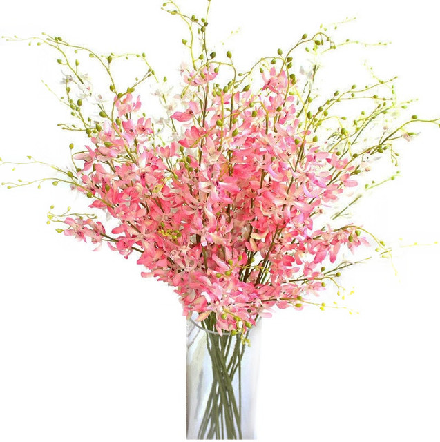 Indigo Whole 200pcs Pink Dancing Lady Orchid Flower Artificial Flowers Wedding Party Banquet Decoration