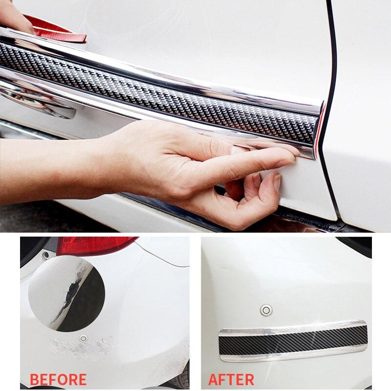 Image 2 - Автомобильный Стайлинг 5D углеродное волокно резиновый протектор порога автомобиля стикер Авто Стайлинг автомобиля бампер полосы протекторы внешние аксессуары-in Наклейки на автомобиль from Автомобили и мотоциклы
