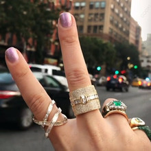 GODKI Luxury Geometry Statement Stackable Rings For Women Wedding Cubic Zircon Engagement