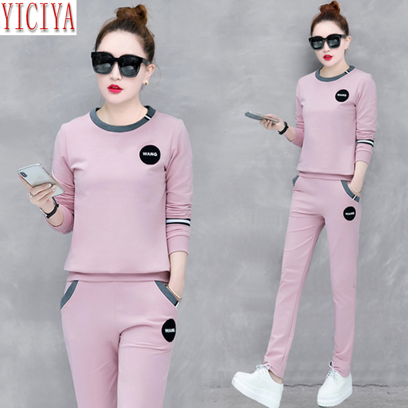 YICIYA Pink Tracksuits Women Set 2 Piece Set Co-ord Set Outfits Pants Suits And Top Plus Size Large 2019 Winter Long Sleeves