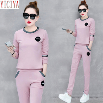 YICIYA Pink tracksuits women set 2 piece set co-ord set outfits pants suits and top plus size large 2020 winter long sleeves pink shining tracksuits women two piece set spring plus size hoodie top and pants set suits casual bodcon 2 piece set
