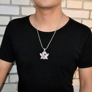 Image 4 - Hayalet kolye & kolye ile 4mm tenis zinciri altın rengi Bling kübik zirkon erkek Hip hop kaya takı