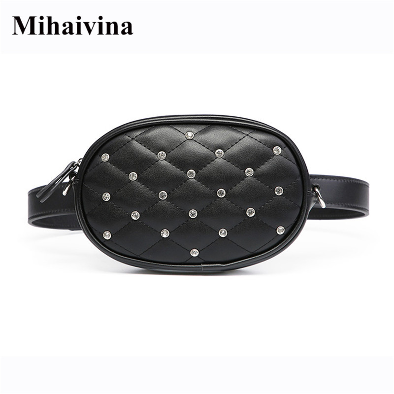 Mihaivina Hight Quality Waist Bag Women Waist Packs Belt Bag Luxury Chain Shoulder Bags Fashion PU Leather Velvet Chest Handbag цена
