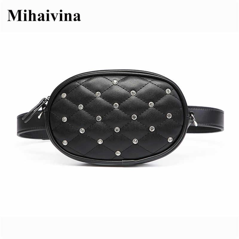 Mihaivina Saco Da Cintura Das Mulheres da Qualidade de Hight Cintura Pacotes de Saco de Cinto de Luxo Cadeia Ombro Sacos de Moda PU Couro Bolsa De Veludo Peito