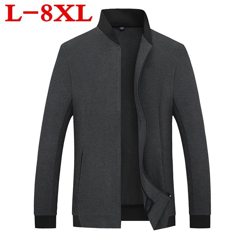 plus size 10XL 9XL 8XL 6XL Solid color New 2018 Casual Jacket 5XL Men Spring Autumn Outerwear Mandarin Collar Clothing
