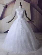 LORIE White Wedding Gowns 2017 Vestidos De Noiva Vintage Lace Appliques Beaded Sexy Bridal Dressee Half Sleeves Custom Made