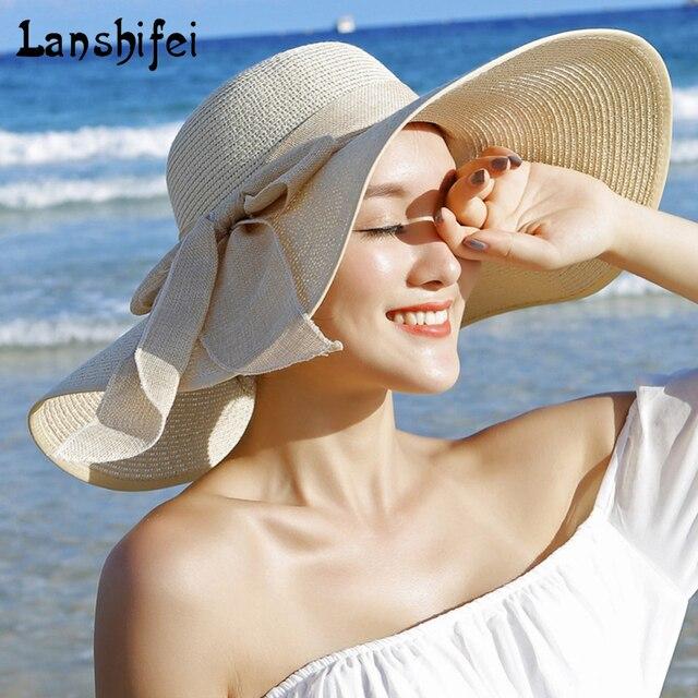 2017 Novas Verão Das Senhoras das Mulheres da Moda Dobrável Ampla Grande  Brim Floppy praia ao 2f3e0b1a4d4