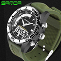 SANDA Men Sports Watches Waterproof Military Quartz Digital Watch Dual Display Time Zones Brand New relogios masculinos