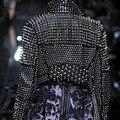 2016 Plus Size Faux Leather Black PU Women Punk Rivet Studded Epaulet Motorcycle Spiked Jacket