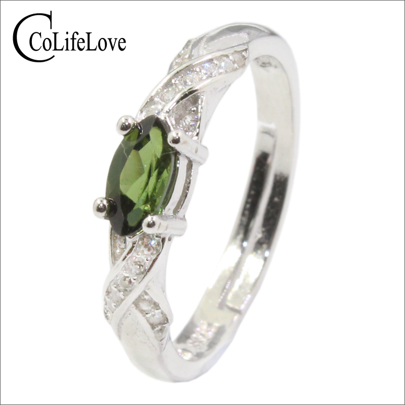 Hotsale 925 Silver Ring With Green Tourmaline 3 Mm * 6 Mm Natural Tourmaline Ring Solid 925 Silver Tourmaline Jewelry