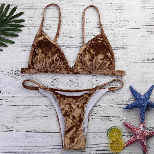 Brazilian Womens Velvet Bikini Set Sexu Low Waist Swimming Costumes Swimsuit Push Up Swimwear Maillot De Bain Bandeau Biquini