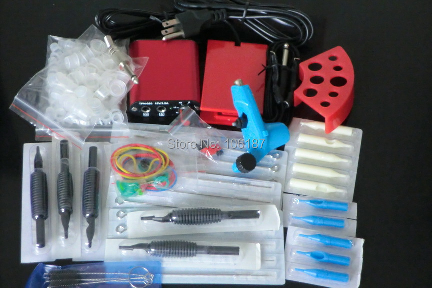 Uitverkoop Complete tattoo set Apparatuur Ego Tattoo machinegeweer Naalden voor voeding Grip Tip Tattoo Starter Kit Supply