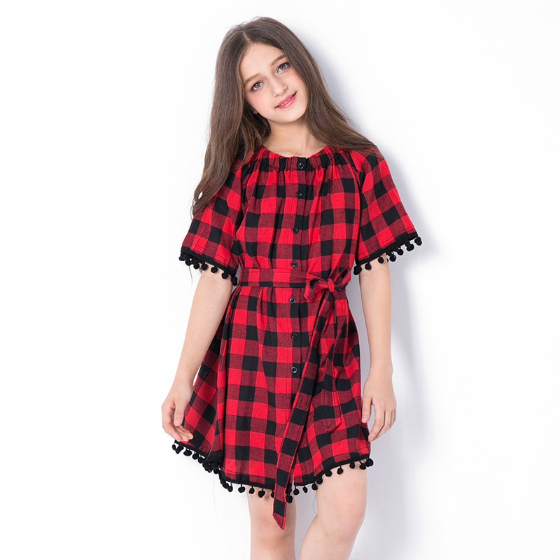 Teenagers Girl Pom Pom Dress Summer 2018 New Arrival Fashion Half Sleeve Black and Red Plaid Dress Teen Girls Off Shoulder Dress