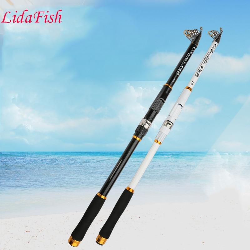 2017 nouveau FRP 2.1 M 2.4 M 2.7 M 3.0 M 3.6 M MPortable canne à pêche télescopique filature poisson main matériel de pêche tige de mer tige d'océan