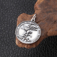 Wholesale S925 Silver Thai Silver St. Michael Archangel Guardian Angel Male and Female Dome Drops
