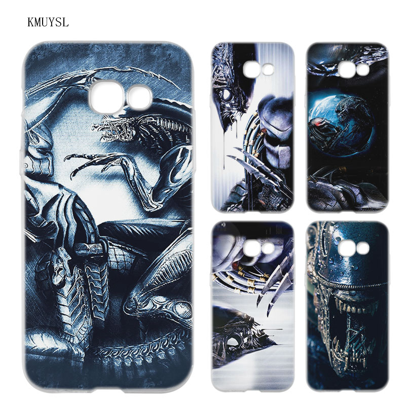 KMUYSL Alien vs Predator TPU Clear Soft Case Cover Shell for Samsung A5 A3 A7 A8 2017 2016 2018