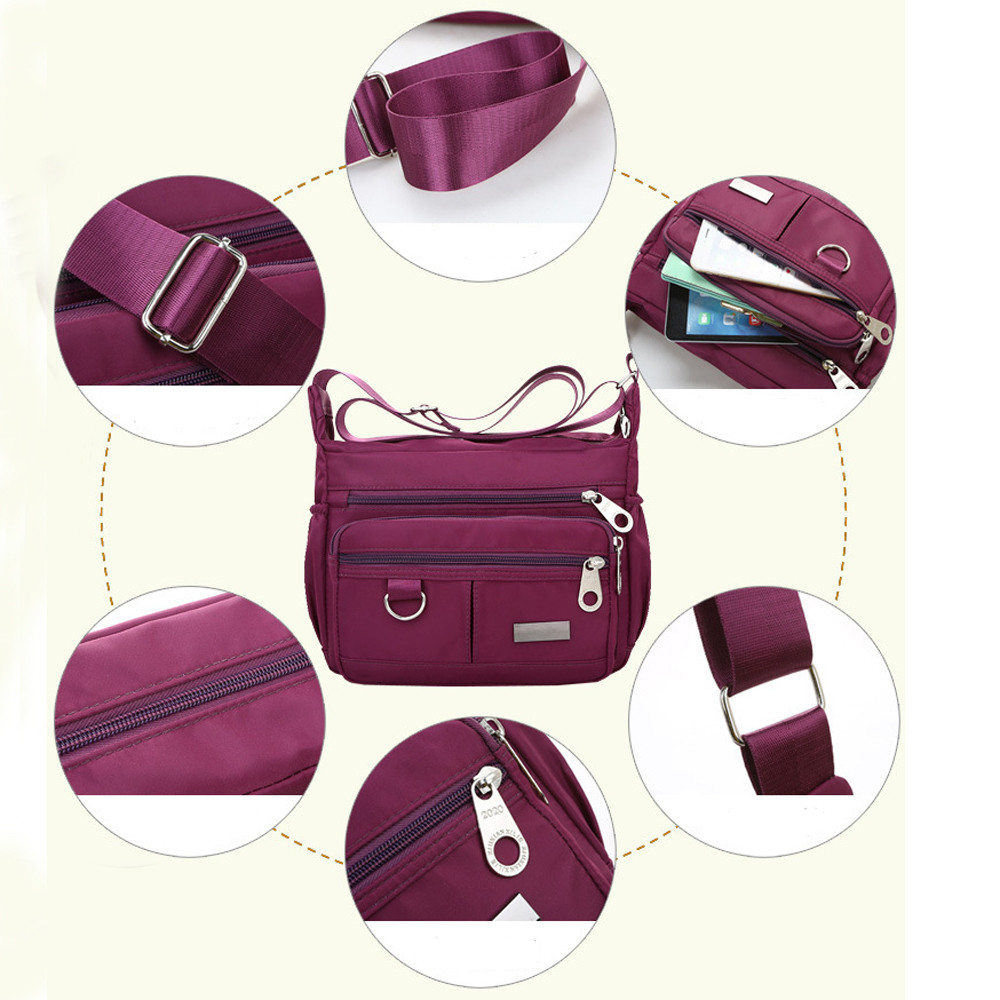 Women Fashion Solid Color Zipper Waterproof Nylon Shoulder Bag  Handbags,Shoulder Bag purple 25cm*19cm*9cm 38