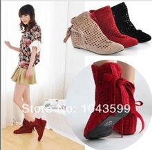 Women's cut-outs Boots Spring or Summer short Boots , Inside High -heel hollow out sandal