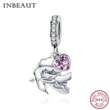 INBEAUT 100% Real 925 Sterling Silver Pink Zircon Heart Charm Cupid Arrow Fall in Love Pendant Beads fit Pandora Bracelet S925