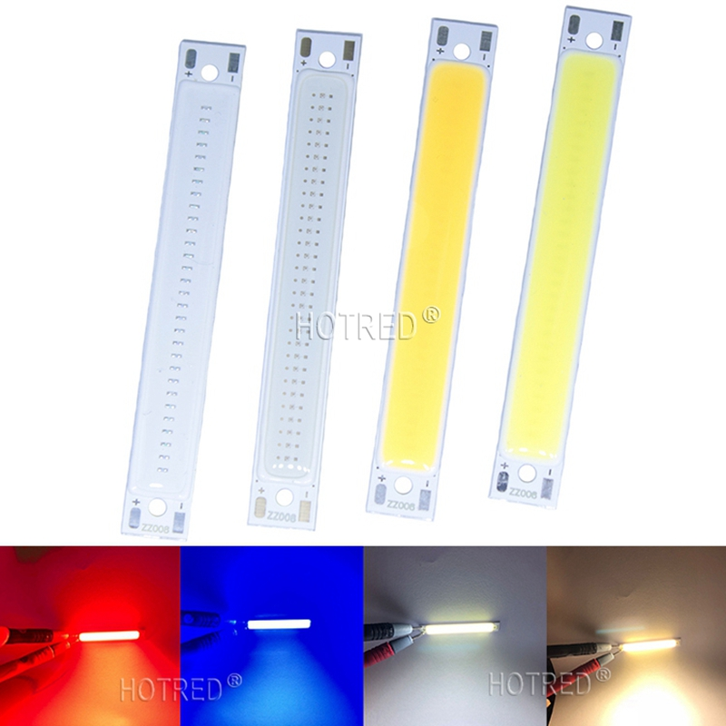 1PCS 10PCS 60x8mm 3W Red Blue Cold Warm White COB <font><b>Strip</b></font> <font><b>LED</b></font> light Source Bar Lamp DIY Car Work Bicycle <font><b>LED</b></font> COB Lights DC 3-<font><b>4V</b></font> image