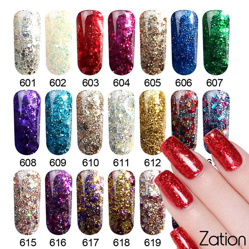 Zation Varnish Diamond Glitter UV Gel Polish Soak Off Shimmer Nail Art Newest Diamond Shiny Sequin P