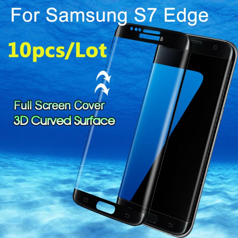 imágenes para 10 unids/lote para samsung galaxy s7 edge 3d cobertura total curvada vidrio templado protector de pantalla ultra delgada en stock envío rápido