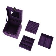 Terciopelo baratija cosmética belleza viaje caja de la vendimia púrpura