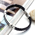 New Fashion Men's Trendy Jewelry PU Leather Hand Chain Silver Stainless Steel Man Bracelets & Bangles Charm Bracelet LPH524