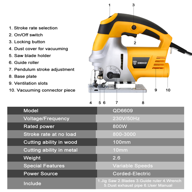 DEKO Laser Jig Saw, Variable Speed Includes 6pcs Blades, Metal Ruler, Dust Pipe, Allen Wrench Electric Saw Tools 2
