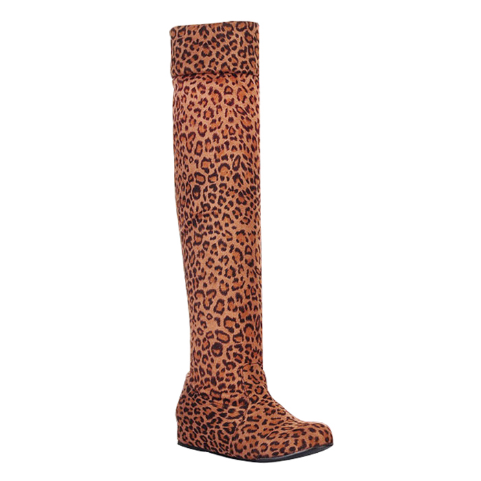 Women Increased within Elasticity High boots Leopard Yellow