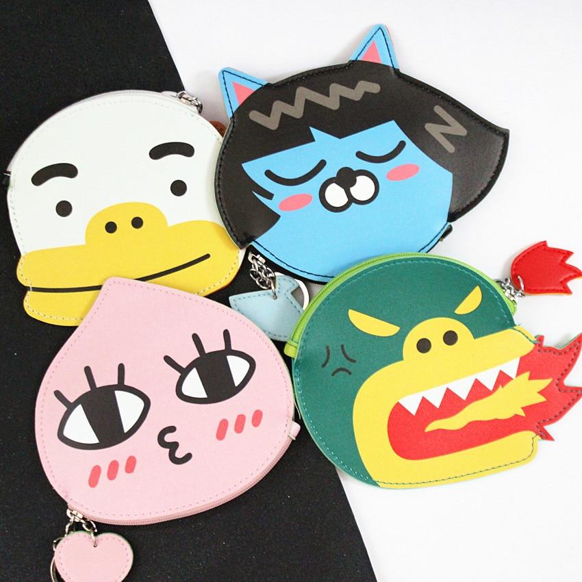 M048 Image Design Women Zero Purses Cartoon Animal Pattern Carry Small Change Coin Bag key Ring Mini Cloth Bag Gift Wholesale