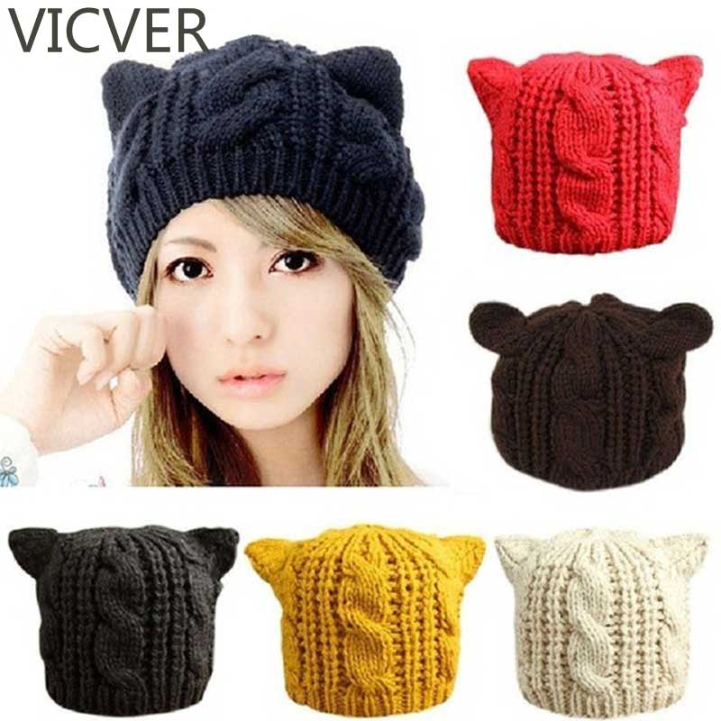 f7a3d47d73be53 2018 Women Devil Horns Cat Ears Beanie Woolen Hat Crochet Knit Cap Winter  Autumn Ladies Fashion Knitted Hats Beanies Warm Caps-in Skullies & Beanies  from ...