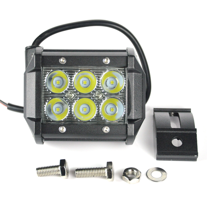 2400lm 18W High Power Waterproof LED Offroad Work Light Off Road Driving Light with 6 LEDs for Car Truck Boat Fog Light 12V 24V