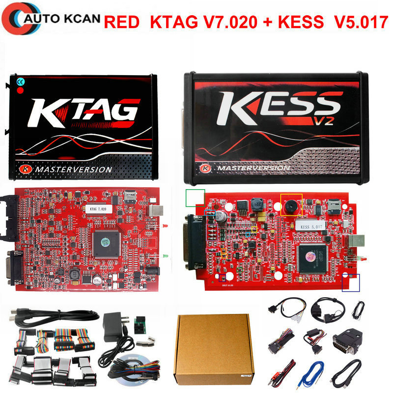 Online Master RED KESS V5.017 V2.47 & KTAG V7.020 V2.23 No Tokens Limit KESS 5.017 + K-TAG K Tag 7.020 with ECU Cover Open Tool