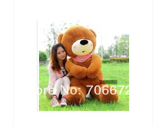 New stuffed dark brown squint-eyes teddy bear Plush 240 cm Doll 94 inch Toy gift wb8400