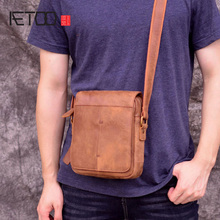 AETOO New handmade mens satchel, casual slant leather bag, scrub skin summer retro shoulder bag