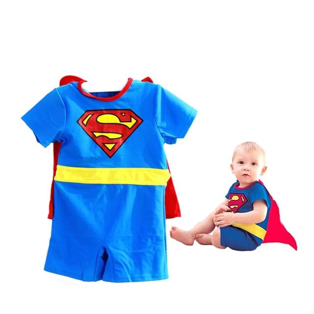 2 UNIDS 2016 Verano Bebé Mameluco Superman Cosplay Traje Gorro de baño + traje de Baño Trajes de Baño de Una Sola Pieza Ropa de Los Niños