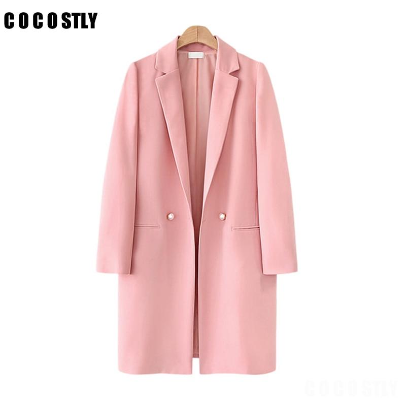 Women Blazer Casual Suit Spring 2019 Lapel Collar Long Sleeve Pink Blazer Solid Single Button Long Coat Jacket Feminino Outwear