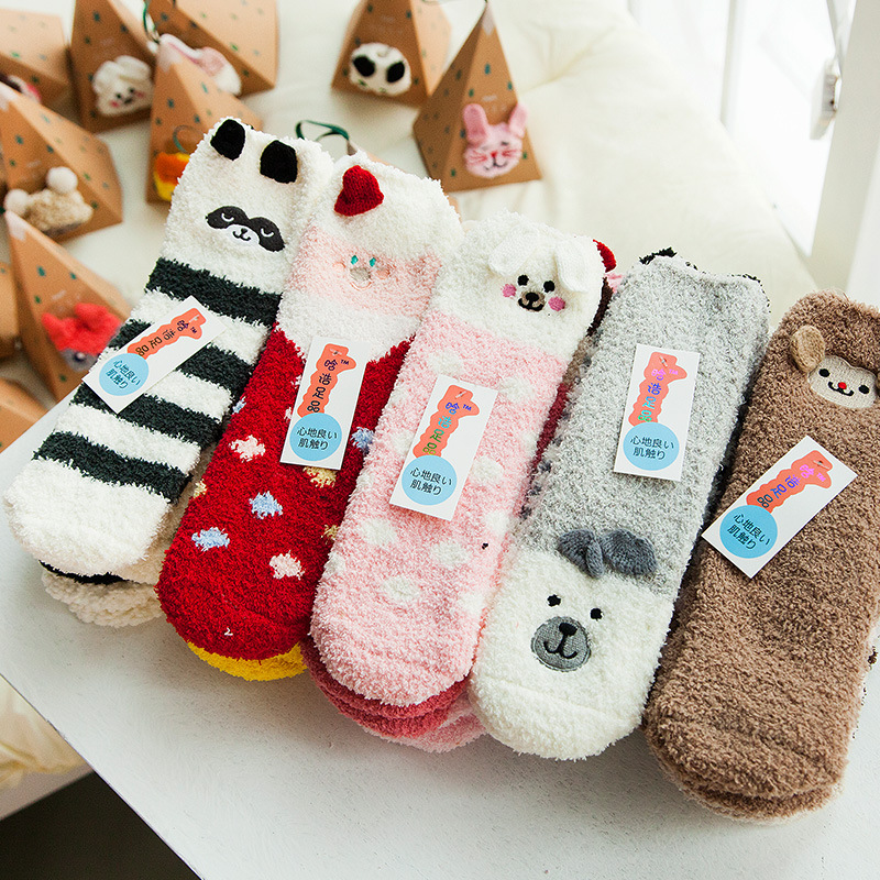 Home Women Girls Soft Bed Floor   Socks   Fluffy Warm Christmas   Sock   Cartoon Coral Velvet For Princess Holiday Birthday Gifts Vicky