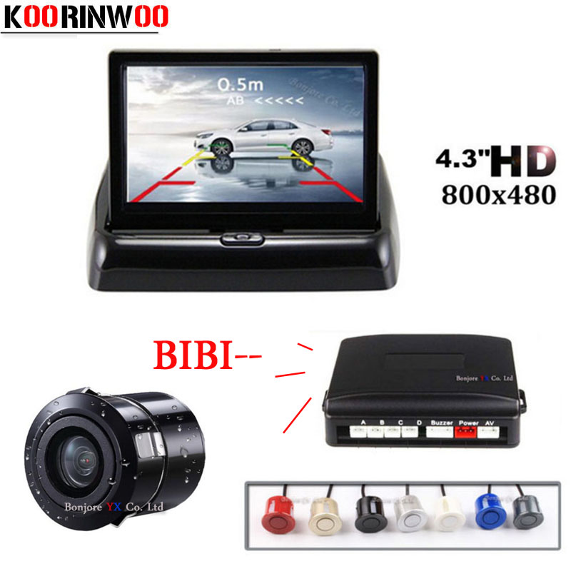 Koorinwoo Car Parking 4 Sensors Kit 4.3 Car TFT Monitor Rear View Camera Reverse BIBI Buzzer Speaker PARKJNG ASYSTEM Parktronic кроссовки asics 2015 gel lyte iii h513l