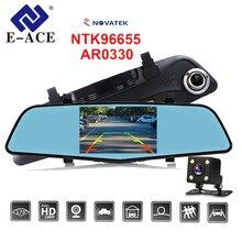 E-ACE Macchina Fotografica Dell'automobile DVR Novatek 96655 Full HD 1080 P IPS Da 4.5 Pollici Registratore A Doppia Lente con Specchio Retrovisore Auto registrator Dashcam